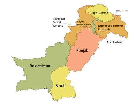 Pastel Colored Labeled Flat Provinces and Regions Map of Asian Country of Pakistan (incl. Kashmir)