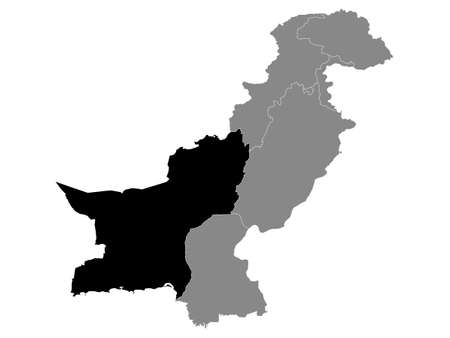 Black Location Map of the Pakistani Province of Balochistan within Grey Map of Pakistan