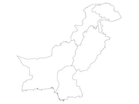 White Flat Provinces and Regions Map of Asian Country of Pakistan