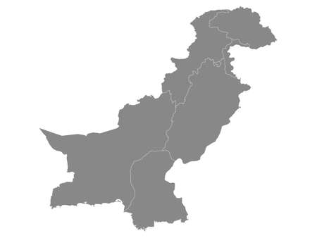 Grey Flat Provinces and Regions Map of Asian Country of Pakistan