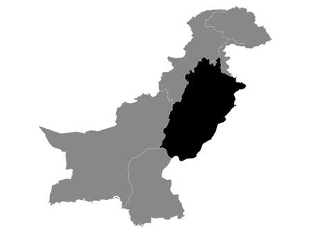 Black Location Map of the Pakistani Province of Punjab within Grey Map of Pakistan