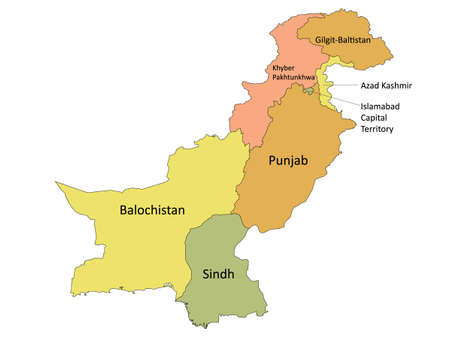 Pastel Colored Labeled Flat Provinces and Regions Map of Asian Country of Pakistan