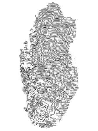 Black and White 3D Contour Topography Map of Asian Country of Qatar