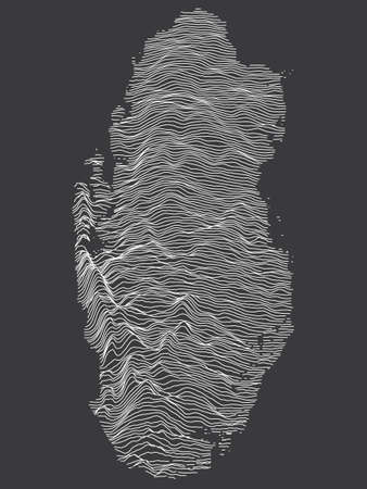 Dark Black and White 3D Contour Topography Map of Asian Country of Qatar