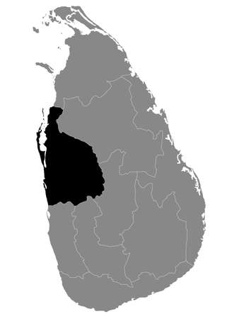 Black Location Map of Sri Lankan Province of North Western within Grey Map of Sri Lanka