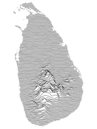 Black and White 3D Contour Topography Map of Asian Country of Sri Lanka  イラスト・ベクター素材
