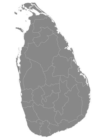 Grey Flat Provinces and Districts Map of Asian Country of Sri Lanka
