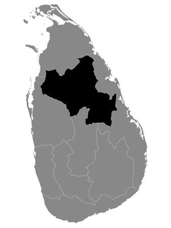 Black Location Map of Sri Lankan Province of North Central within Grey Map of Sri Lanka