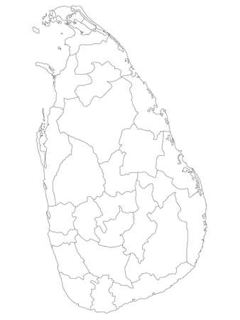 White Flat Provinces and Districts Map of Asian Country of Sri Lanka