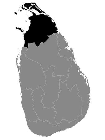 Black Location Map of Sri Lankan Province of Northern within Grey Map of Sri Lanka  イラスト・ベクター素材