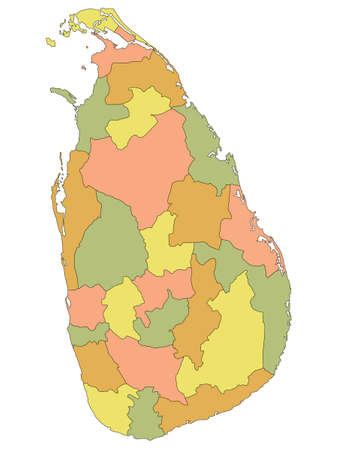 Pastel Colored Flat Provinces and Districts Map of Asian Country of Sri Lanka