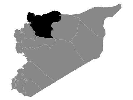 Black Location Map of the Syrian Governorate of Aleppo within Grey Map of Syria Ilustración de vector