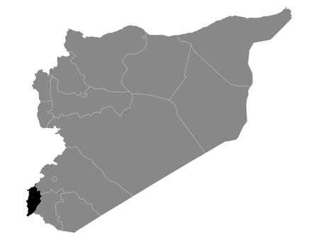 Black Location Map of the Syrian Governorate of Quneitra (incl. Golan Heights) within Grey Map of Syria