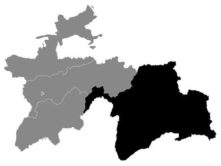 Black Location Map of the Tajik Autonomous Region of Gorno-Badakhshan within Grey Map of Tajikistan