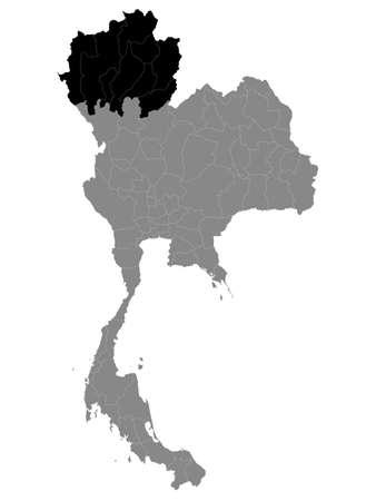 Black Location Map of the Thai Region of Northern Thailand within Grey Map of Thailand Векторная Иллюстрация