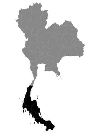 Black Location Map of the Thai Region of Southern Thailand within Grey Map of Thailand Иллюстрация