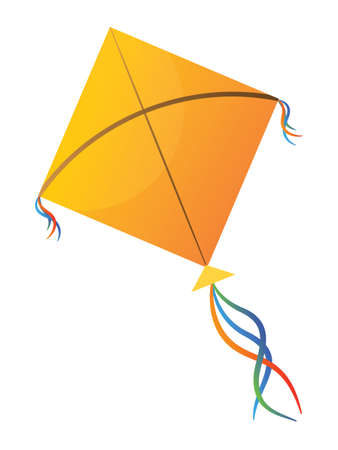 Vector Illustration of a Colorful Flying Kite Toy