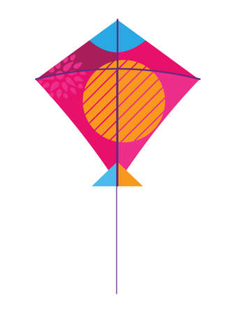Vector Illustration of a Colorful Flying Kite Toy Vettoriali