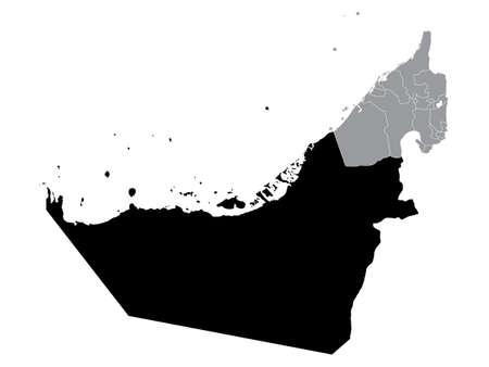 Black Location Map of Emirate of Abu Dhabi within Grey Map of United Arab Emirates Illustration