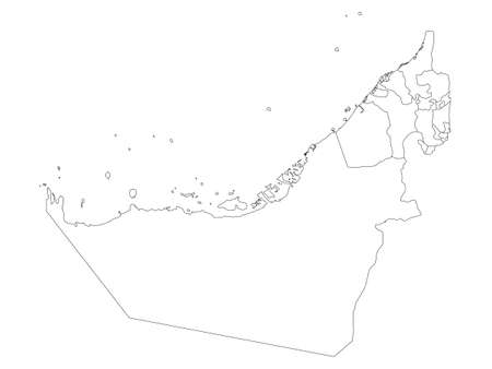 White Flat Provinces Map of the Asian Country of United Arab Emirates Illustration