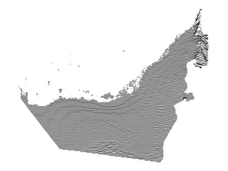 Black and White 3D Contour Topography Map of the Asian Country of United Arab Emirates Illustration