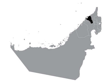 Black Location Map of Emirate of Umm Al Quwain within Grey Map of United Arab Emirates