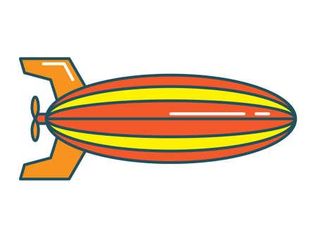 Vector Illustration of a Colorful Cartoon Blimp Dirigible