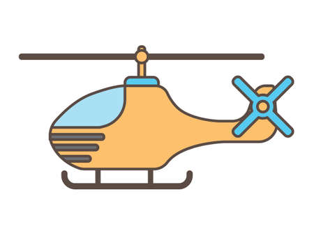 Vector Illustration of a Colorful Cartoon Helicopter Иллюстрация