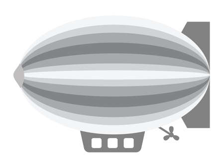 Vector Illustration of a Grey  Cartoon Blimp Dirigible Иллюстрация