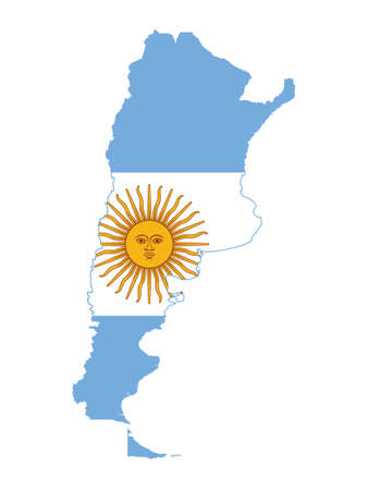 Vector Illustration of the Flag Incorporated Into the Map of Argentina
