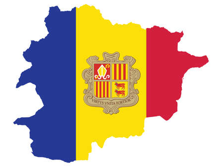Vector Illustration of the Flag Incorporated Into the Map of Andorra