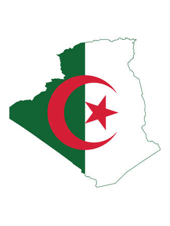 Vector Illustration of the Flag Incorporated Into the Map of Algeria