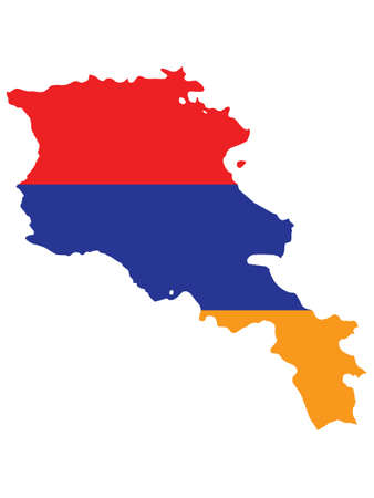 Vector Illustration of the Flag Incorporated Into the Map of Armenia