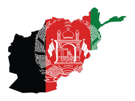 Vector Illustration of the Flag Incorporated Into the Map of Afghanistan