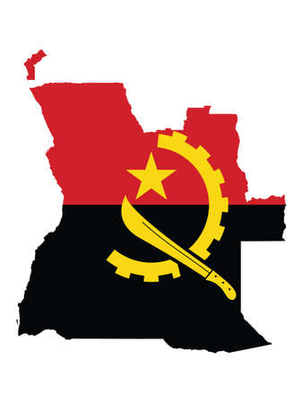 Vector Illustration of the Flag Incorporated Into the Map of Angola