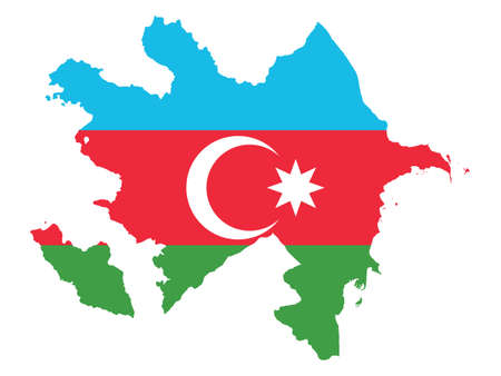 Vector Illustration of the Flag Incorporated Into the Map of Azerbaijan Иллюстрация