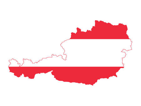 Vector Illustration of the Flag Incorporated Into the Map of Austria