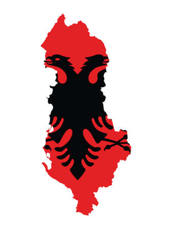 Vector Illustration of the Flag Incorporated Into the Map of Albania