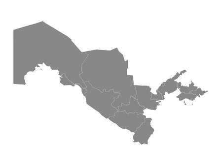 Grey Flat Regions Map of the Asian Country of Uzbekistan