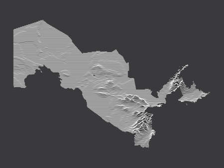 Dark Black and White 3D Contour Topography Map of the Asian Country of Uzbekistan