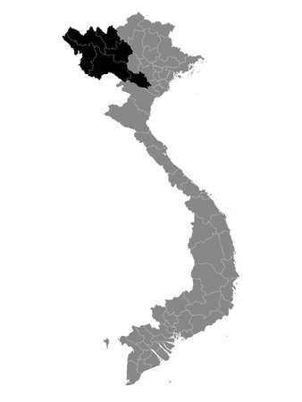 Black Location Map of the Vietnamese Region of Northwest Vietnam within Grey Map of Vietnam 矢量图像