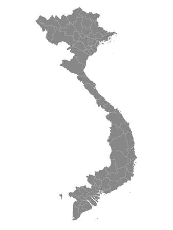 Grey Flat Provinces Map of the Asian Country of Vietnam