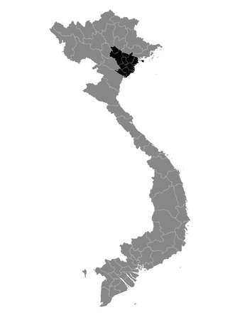 Black Location Map of the Vietnamese Region of Red River Delta within Grey Map of Vietnam