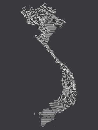 Dark Black and White 3D Contour Topography Map of the Asian Country of Vietnam