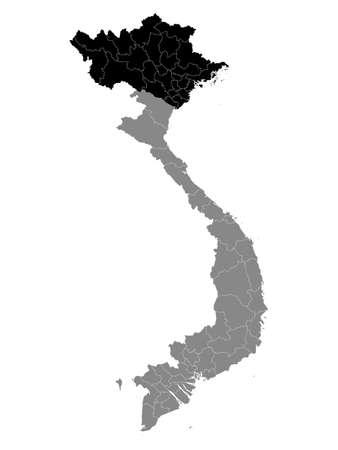 Black Location Map of the Vietnamese Region of Northern Vietnam within Grey Map of Vietnam
