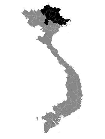 Black Location Map of the Vietnamese Region of Northeast Vietnam within Grey Map of Vietnam