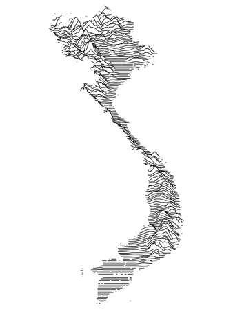 Black and White 3D Contour Topography Map of the Asian Country of Vietnam Иллюстрация