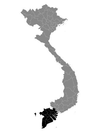 Black Location Map of the Vietnamese Region of Mekong River Delta within Grey Map of Vietnam