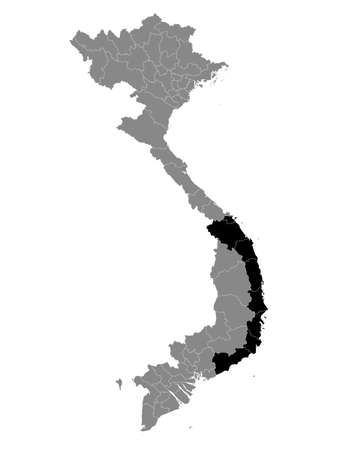 Black Location Map of the Vietnamese Region of South Central Coast within Grey Map of Vietnam