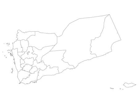 White Flat Provinces Map of the Asian Country of Yemen Иллюстрация